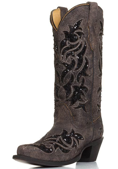 Corral Womens Sequin Inlay Western Snip Toe Cowboy Boots - Brown/Black $229.00