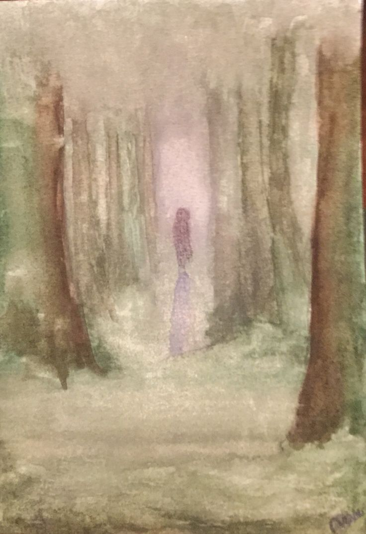 Mysterious figure in the dark forest