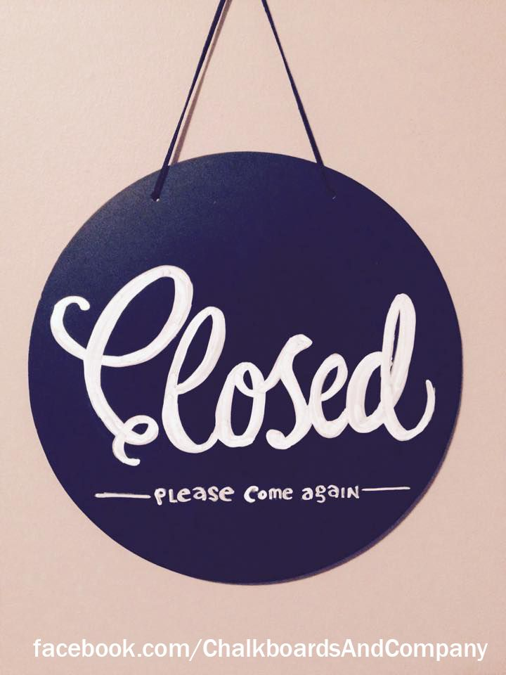 Other side of open sign - this one says Closed! Custom chalkboard sign with chalk markers for shop, bar, cafe...