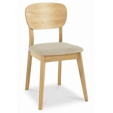 Bentley Designs Oslo Oak Veneered Back Dining Chair Stone Fabric