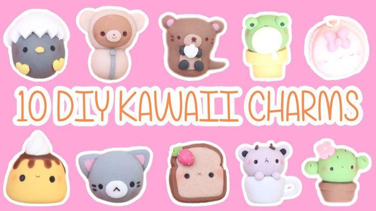 10 in 1 Kawaii Charms polymer clay tutorial