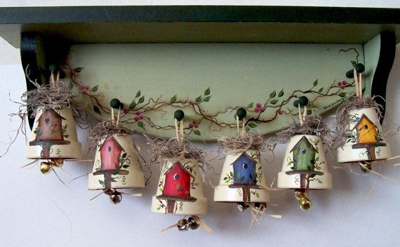 Decorative Birdhouse Bell by CarolsCountrySeasons on Etsy, $5.75. I bought the red, blue, green and yellow ones for my kitchen. They are so cute!!