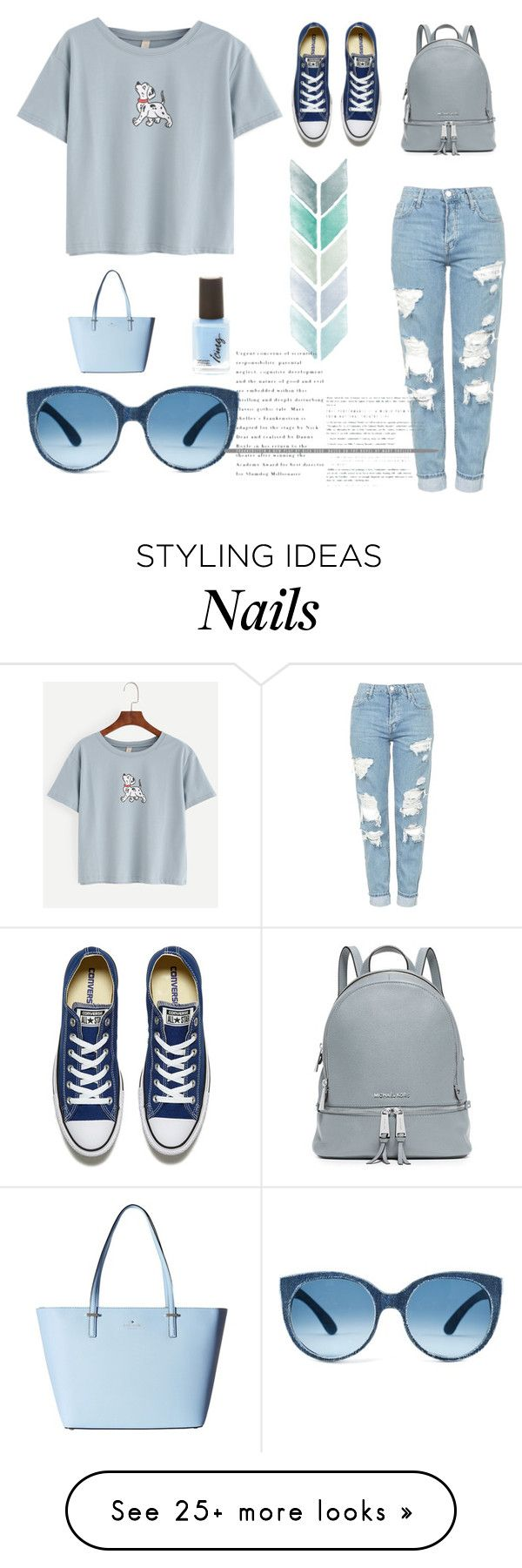 """""""Blue"""" by laras03 on Polyvore featuring Topshop, MICHAEL Michael Kors, Kate Spade and Converse"""