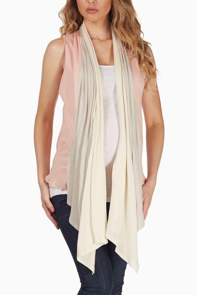Pink-Beige-Layered-Maternity-Vest #maternity #fashion