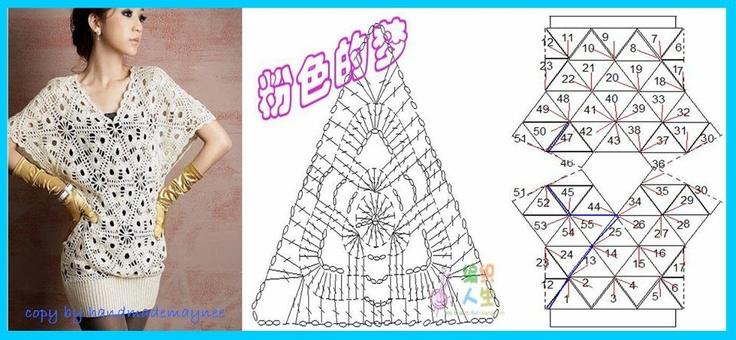 Blusa Con Triangulos A Crochet  Con Diagrama
