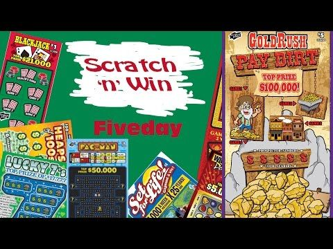 Scratch n Win Fiveday Gold Rush Pay Dirt - YouTube
