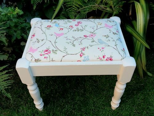 Hand Painted Vintage Shabby Chic Dressing Table Stool With Bird Trail Fabric