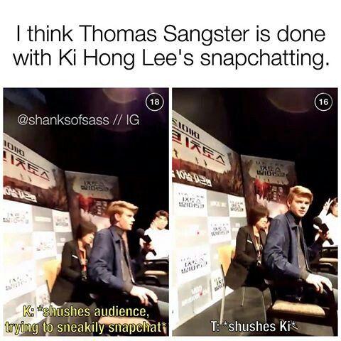 Yeah sure :'D   Ki Hong Lee snapchat and Thomas Sangster