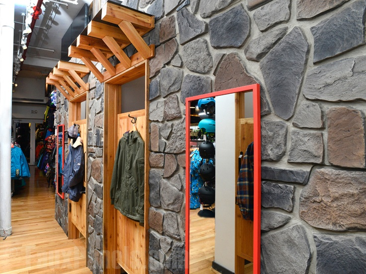 Burton's Snowboards in New York chose our Carlton Fieldstone siding panels for their retail store to evoke winter stone and snow.         http://www.fauxpanels.com/img_c/12-carlton/portfolio/263.jpg