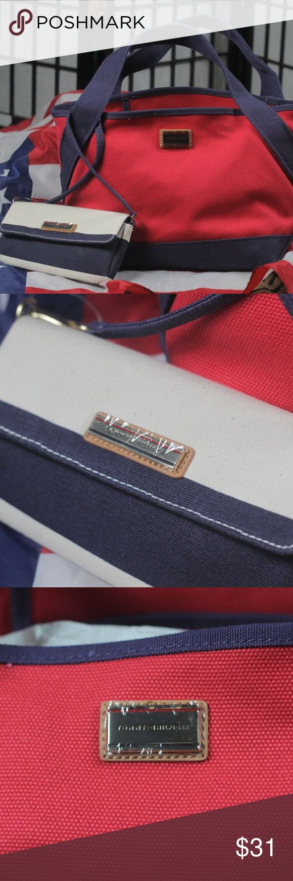BRAND NEW TOMMY HILFIGER TOTE & WALLET Brand new 100% authentic Tommy Hilfiger tote and wallet  Tag still on it This is a cotton and cotton wallet very nice combination red white and blue Tommy Hilfiger Bags Totes
