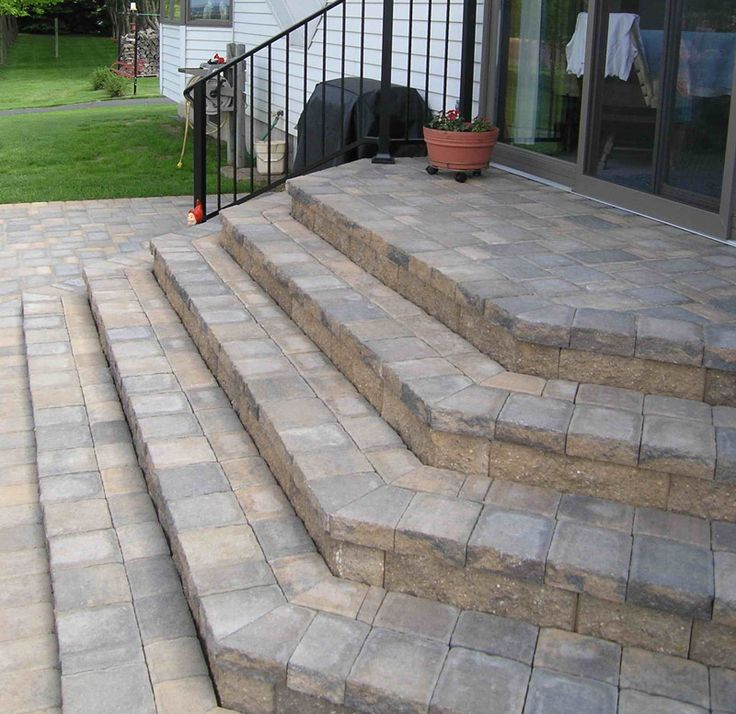 Add An Extra Design Element To Stairs By Cutting Pavers Into Angles.