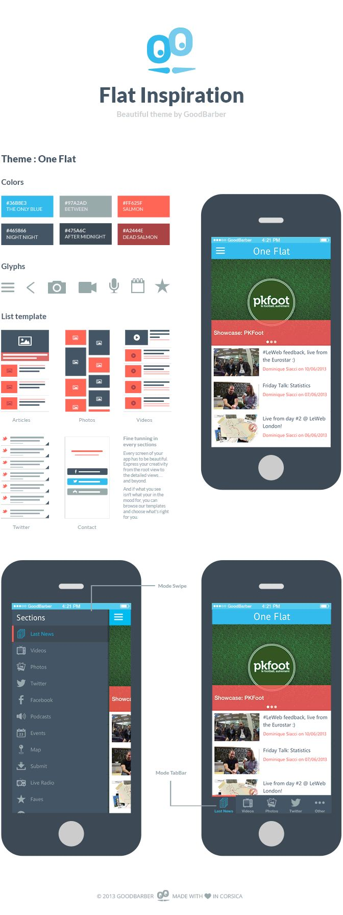 The One Flat Theme - Beautiful Apps by GoodBarber  #template #mobileapp #mobiledev #iOS #Android #design #flat