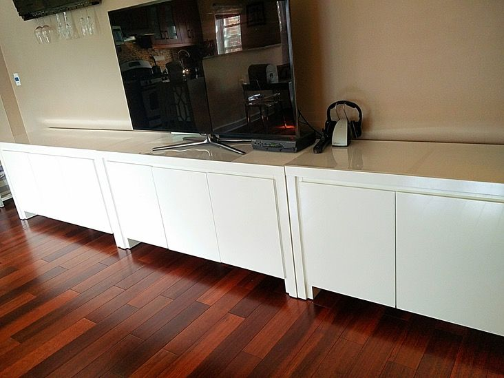 I have 3 modern style buffet table in a white lacquer finish for sale in excellent condition. Each table has 3 doors that open to 2 levels of adjustable shelves that offer plenty of storage. I conv...