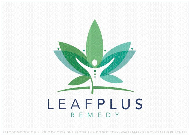 Logo for sale: Medical cannabis leaf design with overlapping leaves creating the impression of a cannabis plant. Within the center of the leaf contained within the white space is a person figure with the arms in an upward position.