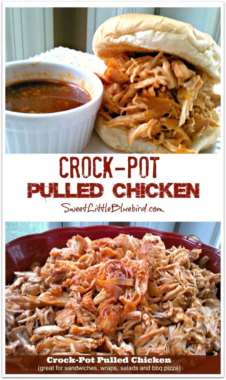 Crock-Pot Pulled Chicken - Great for Sandwiches, Wraps, Salads & Pizza!   SweetLittleBluebird.com