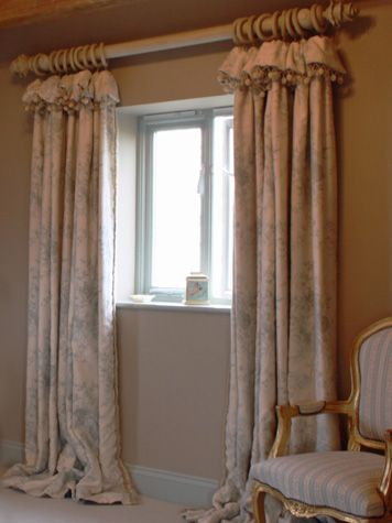 Beautiful linen curtains with soft top...very relaxed and country chic!