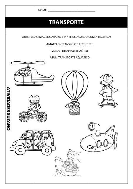 Meios de transporte/ Zona rural e urbana - Atividades Adriana