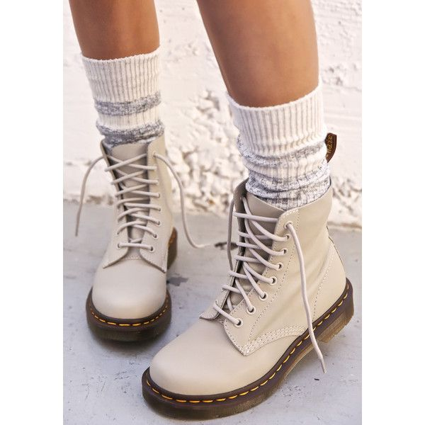 Dr. Martens Pascal 8 Eye Boots (180 AUD) ❤ liked on Polyvore featuring shoes, boots, military lace up boots, real leather boots, ivory boots, combat boots and lace up combat boots