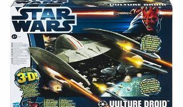Hasbro Star Wars 2012 Vehicle - Vulture Droid With 3D Glasses Assortiment de 3 véhicules à léchelle des figurines Star Wars 10 cm, avec nombreuses parties mobiles. Chaque pack dispose dune image 3-D au dos, visible avec les lunett (Barcode EAN = 5010994623630) http://www.comparestoreprices.co.uk//hasbro-star-wars-2012-vehicle--vulture-droid-with-3d-glasses.asp
