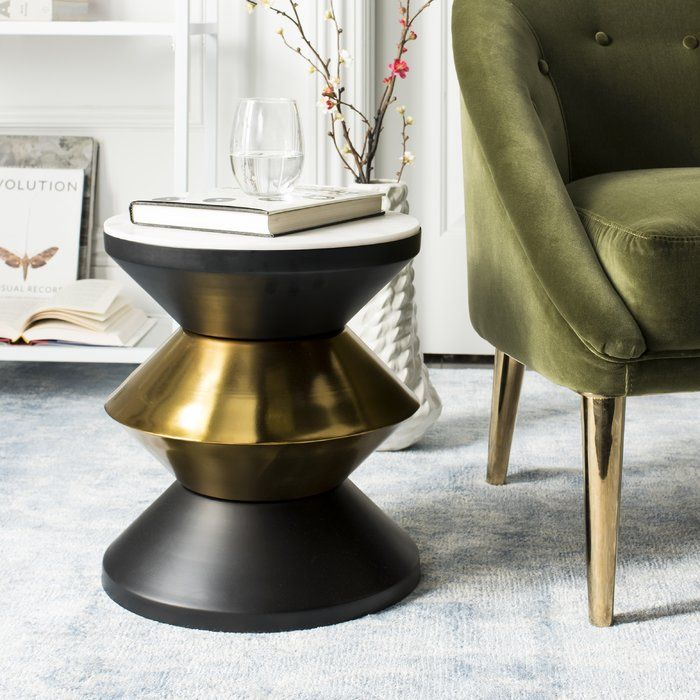 Senters Stone Top End Table Stone Top Side Table Gold Side