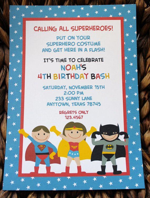 New 26 best Superhero Birthday Invitations images on Pinterest  GF64
