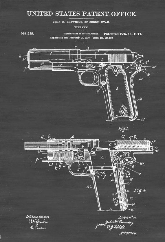 Un cartel de impresión patentes de pistola M1911 inventado por John Browning. La patente fue emitida por la oficina de patentes de Estados Unidos el 14 de febrero de 1911. Grabados de patentes le permiten tener un pedazo de la historia en su hogar, oficina, hombre de cueva, guarida de Geek o dondequiera que usted desea añadir un toque interesante. COLORES Y TAMAÑOS Impresiones están disponibles en muchos colores y en todos los tamaños populares. Usted puede seleccionar su tamaño y color…