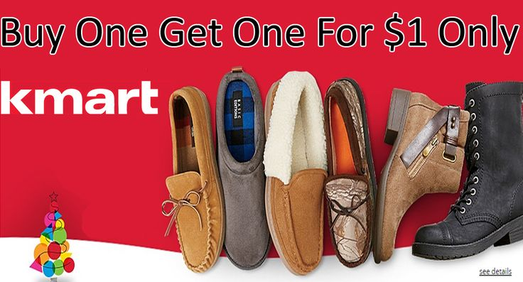 Kmart.com is offering BOGO $1 Shoes for the whole family. Get the deal from the below link. For more Kmart coupon codes, promo codes, deals & coupons visit: http://www.couponcutcode.com/stores/kmart/