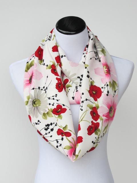 Infinity scarf traditional scarf #poppy #scarf #floral #flowers by #HappyScarvesByLesya