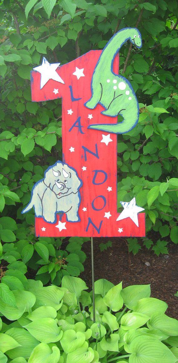 Happy First Birthday Dinosaur Prop Sign  Wood  by BirchTreeKids, $59.99