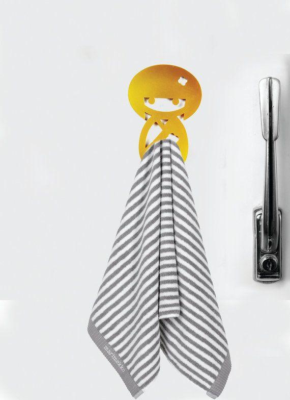 Kitchen decor - Towel hook - Hook magnet - Japanese figure - Magnet hook for hanging a towel on the refrigerator. Good Housewarming gift