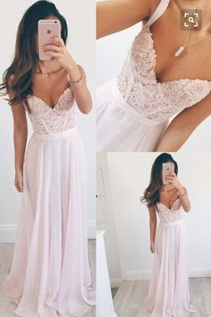 Pink Chiffon Prom Dresses, Lace Appliqued Long Prom Dresses,Simple Prom Dresses Cheap Formal Gowns,PD1888