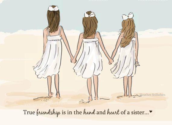 Sisters * Echte vriendschap... Its so true... komt voor in de hand en het hart van een zus... Perfect voor de zusters in je leven. JA... Ik kan de haarkleur veranderen. Laat het ons weten in de toelichting naar de sectie van de verkoper. Links, midden, rechts... Heel hartelijk bedankt! * hand getekend en gekleurd digitaal * Dit is een afdruk van mijn oorspronkelijke illustratie. * Afgedrukt op 8 1/2 x 11 archivering fine art papier. * Zusters komt ondertekend en gedateerd door mij, de…