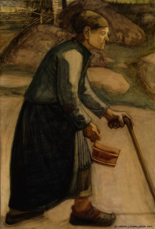 Juho Rissanen (1873-1950) Sokea / Blind ; The Blind Old Woman 1899 - Finland - 94-year-old Heta Kauppinen - Click image to get to original site with audio.
