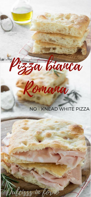 Pizza bianca romana - Pizza e mortazza - Pizza con la mortadella - Focaccia bianca soffice e veloce senza impasto ricetta Dulcisss in forno by Leyla