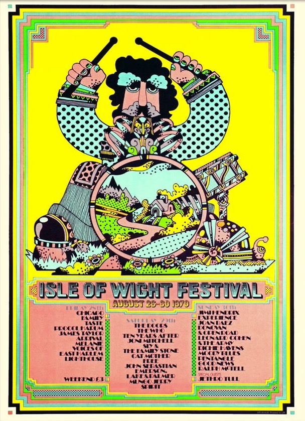 1970 Isle Of Wight Festival. Art by Dave Roe.