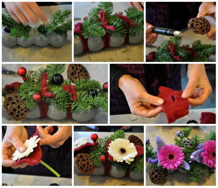 Kerststukjes maken: 4x inspiratie voor 2012 - Christmaholic.nl Collage kerststukje in vaasje 4 bollen