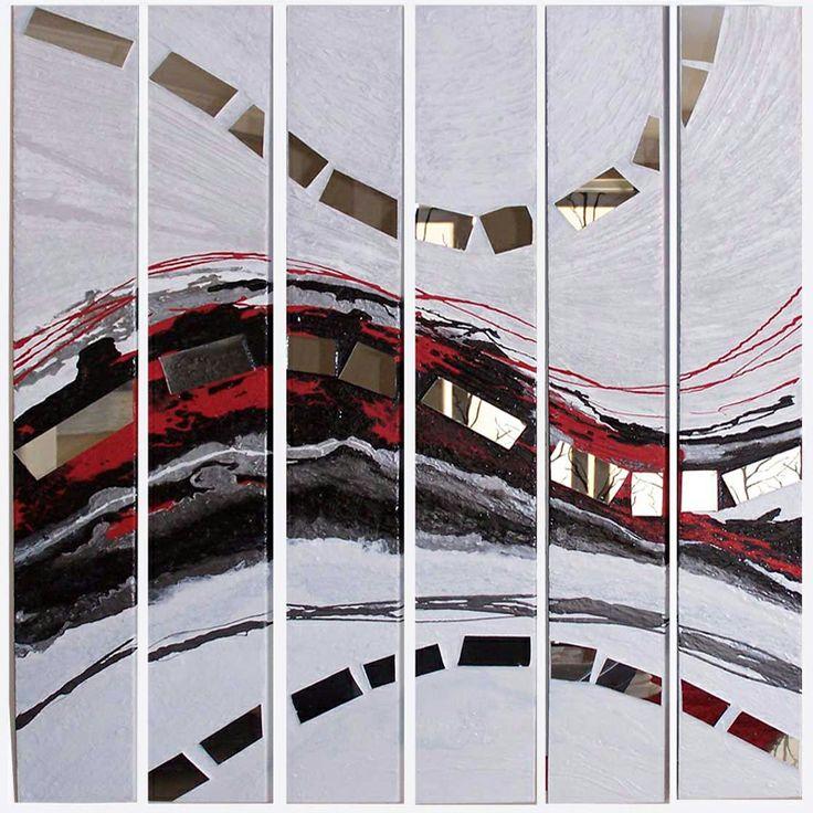 Six panels with mirror mosaic modern art