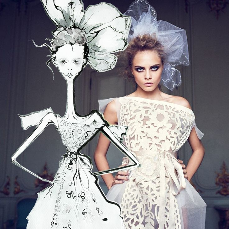 #caradelevinge for Vogue , fashion illustration by tio torosyan