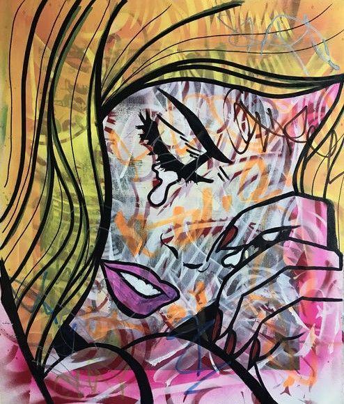 """Dillon Boy - huilen meisje - Graffiti Pop  Artiest: James Dillon Wright aka Dillon Boy (VS 1979)Artwork: Origineel schilderij op doek. Gemaakt met verf acryl en pennen van de olie op doek.Titel: A Love StoryJaar: 2017Stijl: Pop Art/Urban artGrootte: 16 """"x 18"""" / 4064 cm x 4572 cmGesigneerd en Serial genummerd door kunstenaarAftekeningen: ondertekend en seriële nummers achterop. Wordt geleverd met certificaat van ECHTHEID.Nooit opgehangen. Beschermd tegen zonne-licht.Frame niet opgenomen…"""