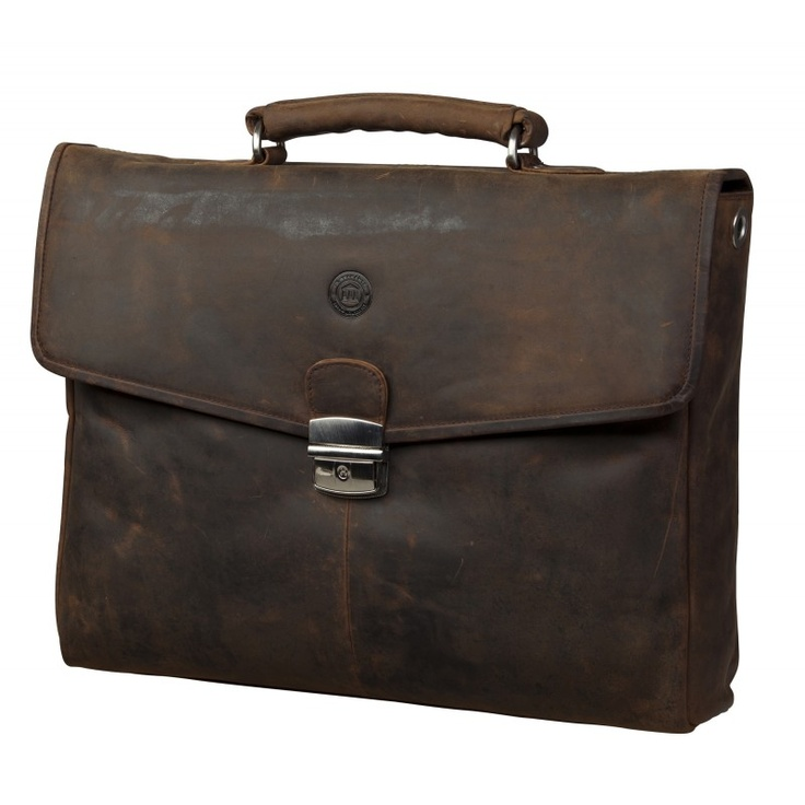 "Hunter brown leather briefcase for Laptops & MacBooks up to 14"". Price: $220. More information: www.dbramante1928.com."