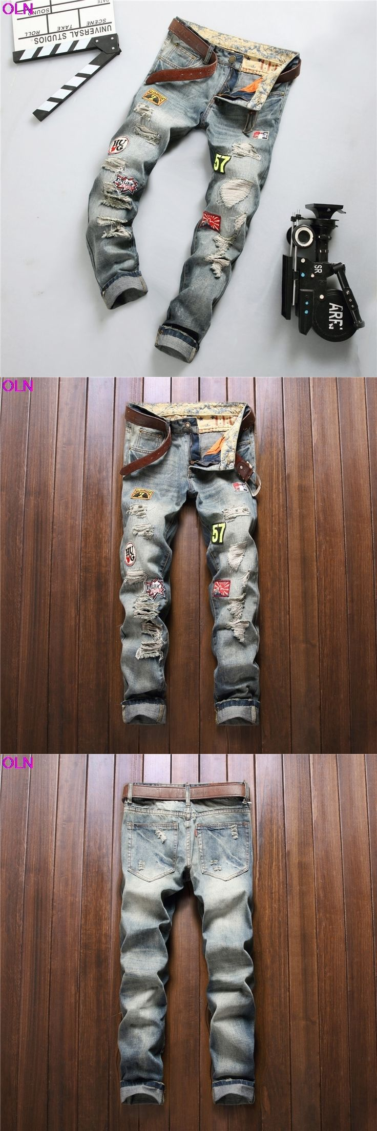 new 2017 hole badge men jeans Straight cultivate one's morality youth water wet pants