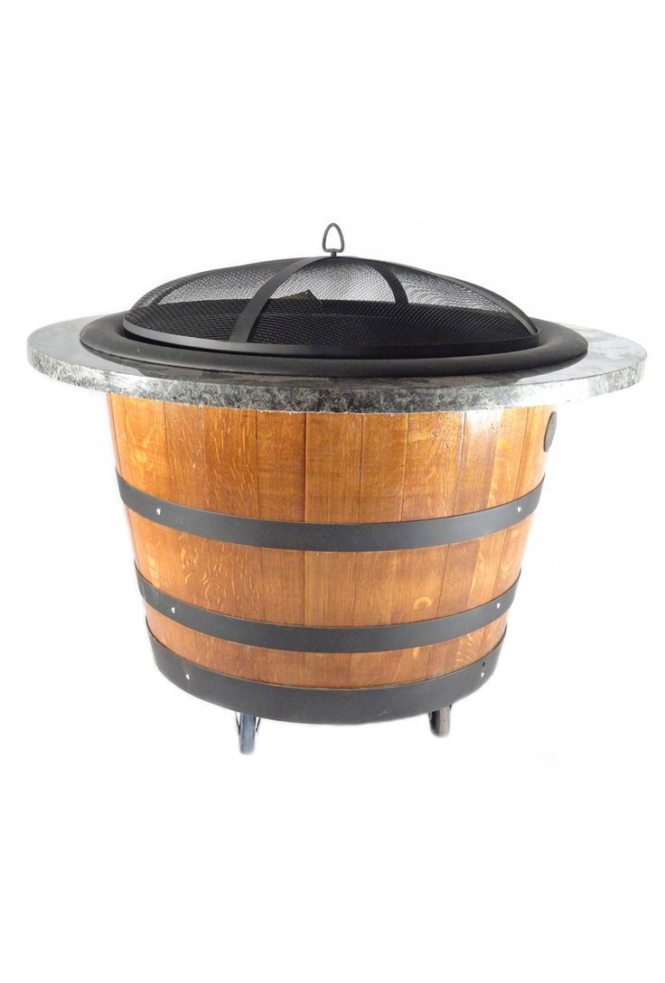Hand-crafted from retired and repurposed white oak wine barrels straight from Napa Valley, this wood burning fire pit would look great on any patio. The bowl on top lifts off for easy ash removal, and the wheels on the bottom make it easy to get it where you want it.