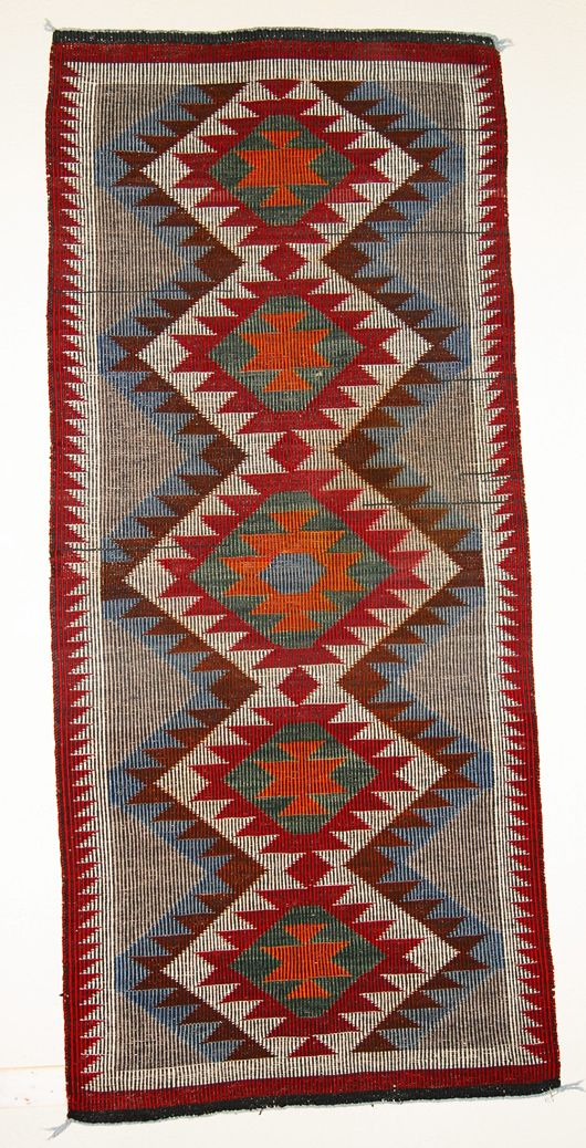 "Coal Mine Mesa Raised Outline Navajo Rug 28"" x 61"" Circa 1960"