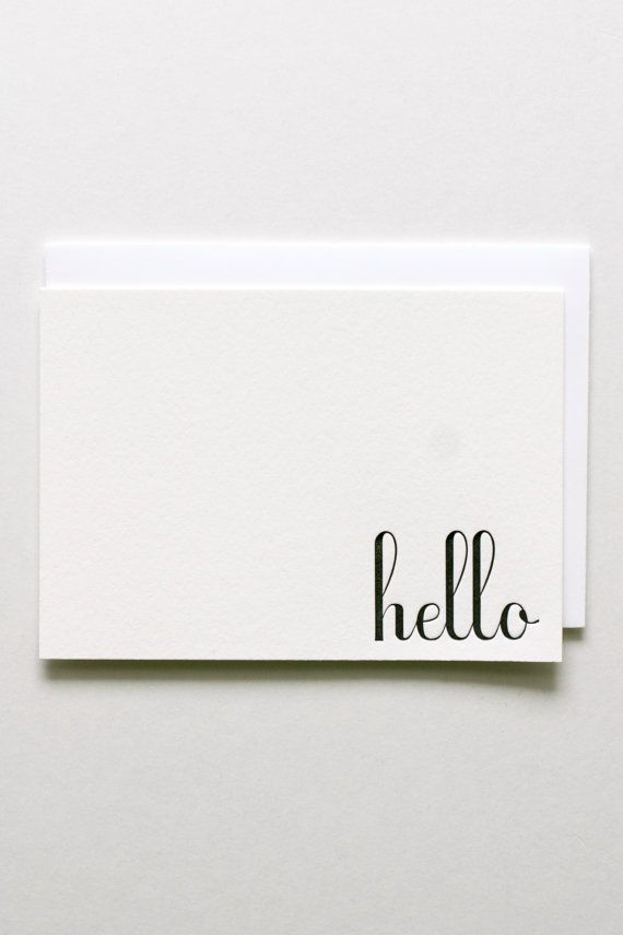 Letterpress Notecard Set  Hello by inhauspress on Etsy, $14.00