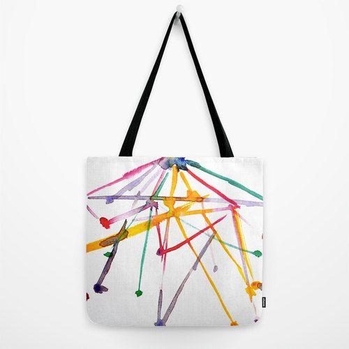 tote bag with broght colorful art print