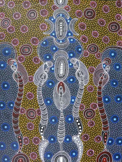 Dreamtime Sisters // Colleen Wallace  This traditional piece represents good spirits dancing the awelye (women's ceremony) and looking after Colleen's country, Arnumarra.