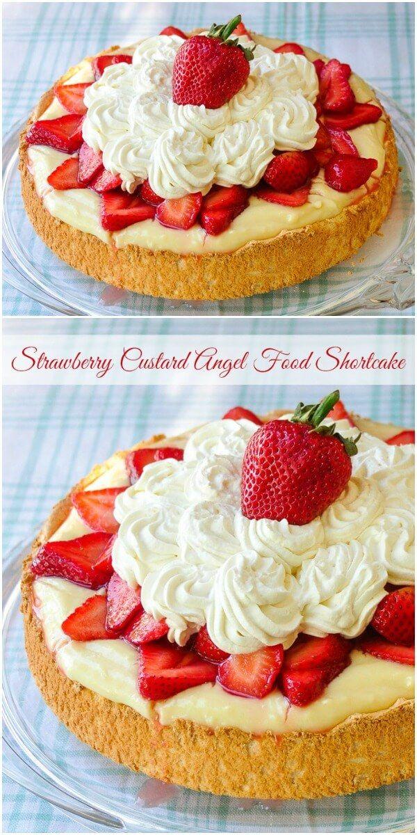 Strawberry Custard Angel Food Shortcake - a light summer shortcake dessert with a creamy indulgent vanilla custard to give it just a little added decadence.
