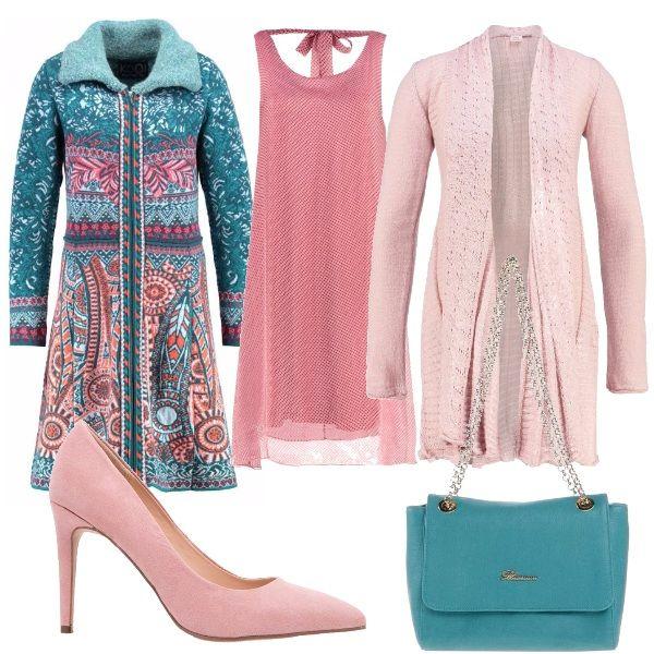 Per questo outfit: vestito rosa morbido, cardigan lungo di una tonalità leggermente più chiara, bellissimo cappotto fantasia, scarpe rosa e tracolla verde acqua che riprende il cappotto.