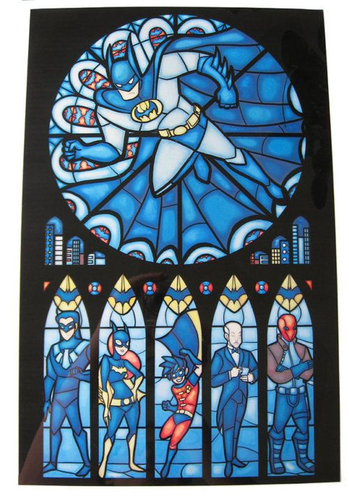 BatChurch: Stainedglass, Stainglass, Comic, Stained Glasses Window, Bats Families, Superheroes, Batman, House, Super Heroes