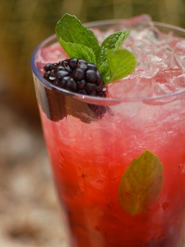Blackberry Perrier Mojito  2 oz silver rum (i.e. Cruzan)  1 oz lime juice, fresh squeezed  1 oz simple syrup  4 blackberries (plus one extra, for garnish)  10-15 mint leaves  Mint sprig, for garnish  Blackberry, for garnish  1 oz Perrier